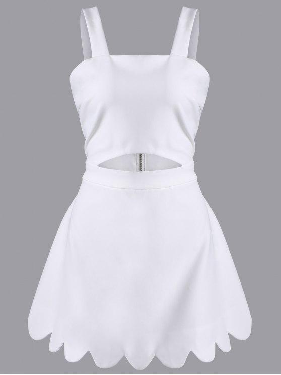 Recortable Scallopped una línea de vestidos - Blanco 2XL