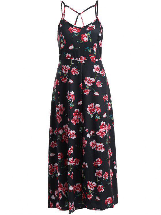 Cami Montaje vestido floral Imprimir - Negro 2XL