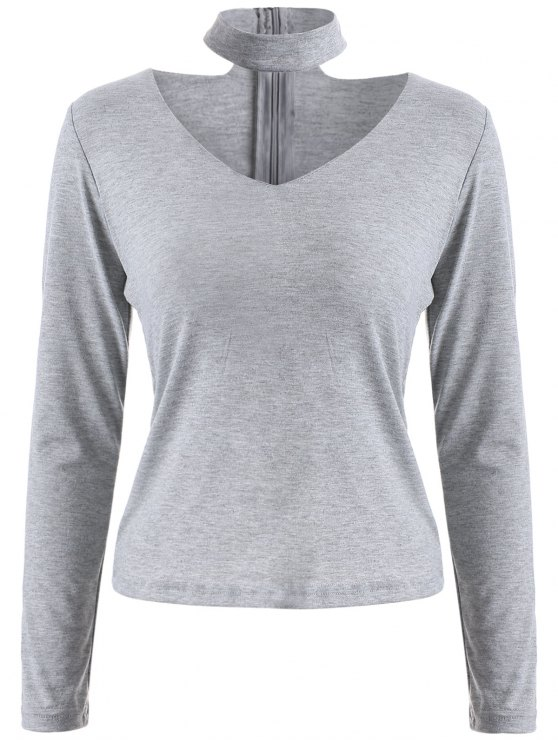 unique Long Sleeved Choker T-Shirt - GRAY S