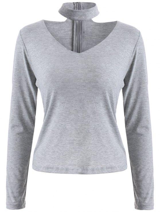 unique Long Sleeved Choker T-Shirt - GRAY S