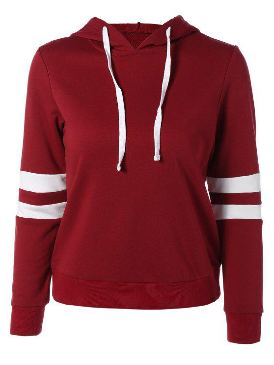 hot Sports Color Block Hoodie - RED 2XL