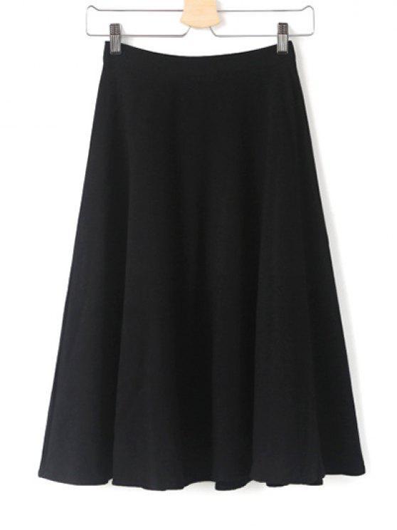 buy High Waist Midi Skirt - BLACK S