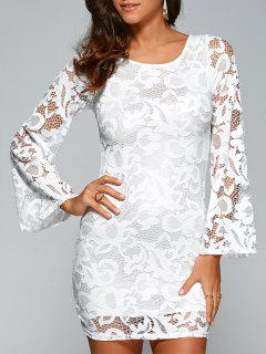 Lace-Up Lace Bodycon Dress - White M