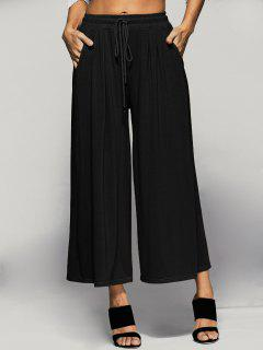 Elastic Waist Culotte Pants - Black 4xl