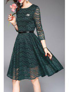 High Waist Lace Belted Dress - Green S