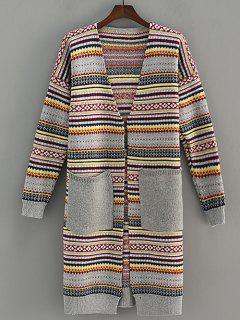 Pocket Design Stripe Jacquard Cardigan - Gris