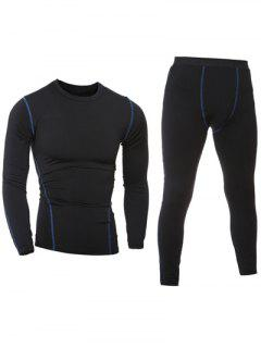 Quick-Dry Long Sleeve T-Shirt + Skinny Gym Pants Twinset - Black L