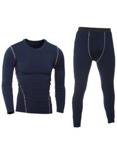 Quick-Dry Long Sleeve T-Shirt + Skinny Gym Pants Twinset - Cadetblue M