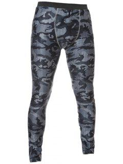 Skinny Elastic Waist Camo Printed Gym Pants - Gray M