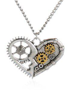 Gear Heart Necklace - Silver