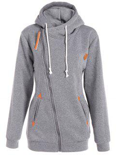 Inclined Zipper Drawstring Plus Size Hoodie - Gray L