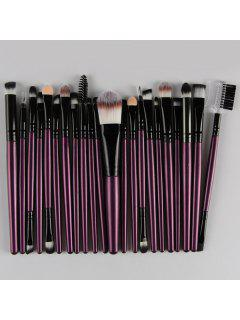 22 Pcs Nylon Eye Lip Makeup Brushes Set - Purple