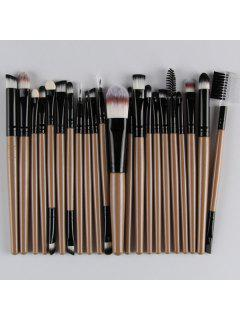22 Pcs Nylon Eye Lip Makeup Brushes Set - Champagne Gold