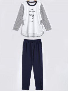 Gestreifte Brief Drucken Hoch Tief Pyjama Set - Weiß M