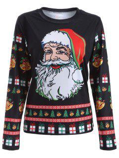 Cute Long Sleeve 3D Santa Claus Print Christmas T-Shirt - Black M