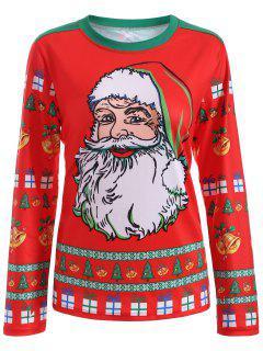 Cute Long Sleeve 3D Santa Claus Print Christmas T-Shirt - Red L