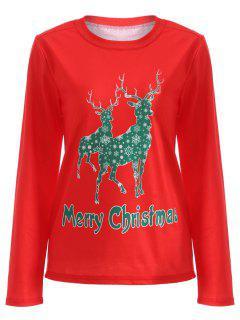 Elk Pattern Christmas T-Shirt - Red M