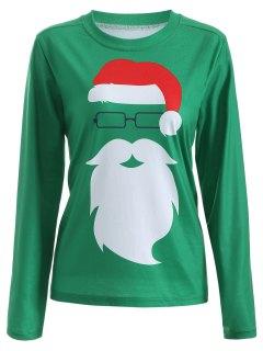 Santa Claus Graphic Christmas Long Sleeve T-Shirt - Green M