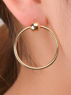 Round Bead Circle Earrings - Golden