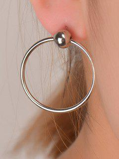 Round Bead Circle Earrings - Silver