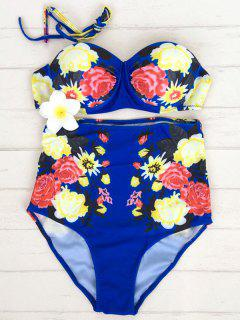 High Waisted Flower Print Tummy Control Swimsuit - Blue S