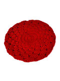 Hollow Out Crochet Knit Beret - Red