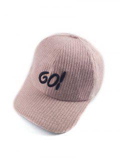 Autumn GO Embroidery Corduroy Baseball Hat - Pink