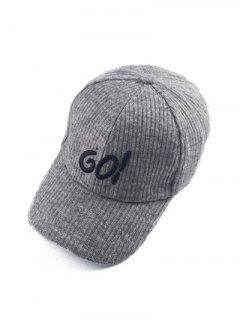 Autumn GO Embroidery Corduroy Baseball Hat - Gray