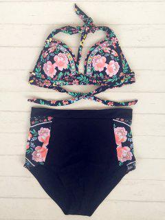 Enemigo De Talle Alto Floral Del Bikini - Negro S