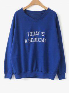 V Neck Lettre Sweatshirt - Bleu