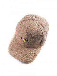 Autumn You Smile Face Embroidery Knit Baseball Hat - Camel