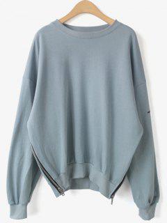 Zippered Sweatshirt - Bleu