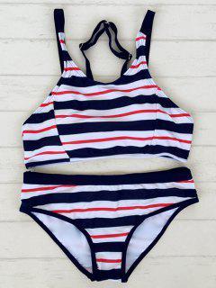 Striped Adjustable Straps Sporty Bikini - Stripe L
