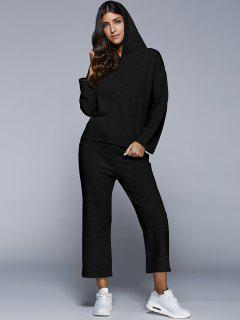Pullover Hoodie With Culotte Pants - Black Xl