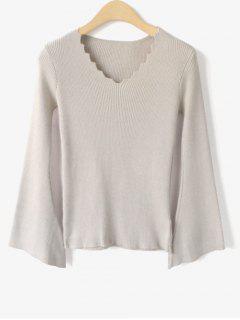Flare Sleeve Scalloped V Neck Knitwear - Light Apricot