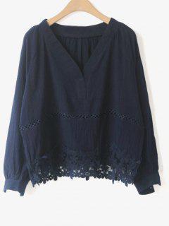 Évider V Neck Laçage Blouse - Bleu Violet