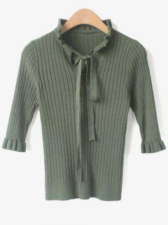 Ruffled Cut Out Knitwear - Green