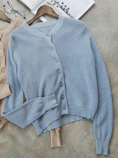 Cropped Single-Breasted Knitwear - Light Blue
