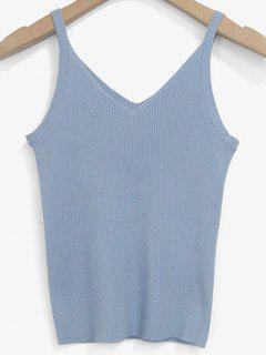 Knitted V Neck Tank Top - Light Blue