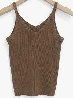 Knitted V Neck Tank Top - Coffee