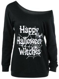 Skew Collar Happy Halloween Witches T-Shirt - Black M