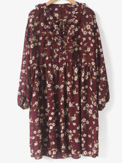 Tiny Floral Lace Up Smock Dress - Wine Red