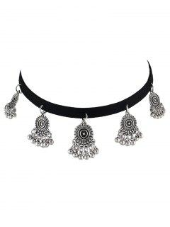 PU Leather Velvet Alloy Circle Choker - Silver