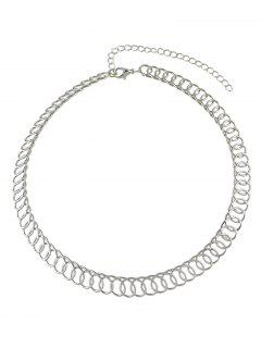 Alloy Chain Circle Choker - Silver
