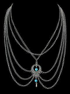 Artificial Turquoise Tassel Chains Necklace - Silver