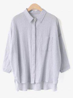 Low High Neck Shirt Chemise Rayée - Gris Clair