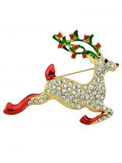 Elk Rhinestone Christmas Brooch - Golden