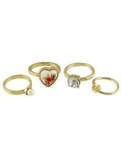 Faux Pearl Rhinestone Heart Jewelry Ring Set - Golden One-size