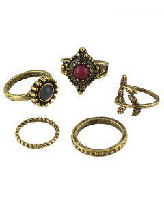 Circle Natural Stone Ring Jewelry Set - Bronze One-size