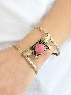 Natural Stone Alloy Bracelet - Bronze